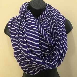 Accessories - 2/$10 Purple & White Striped Infinity Scarf